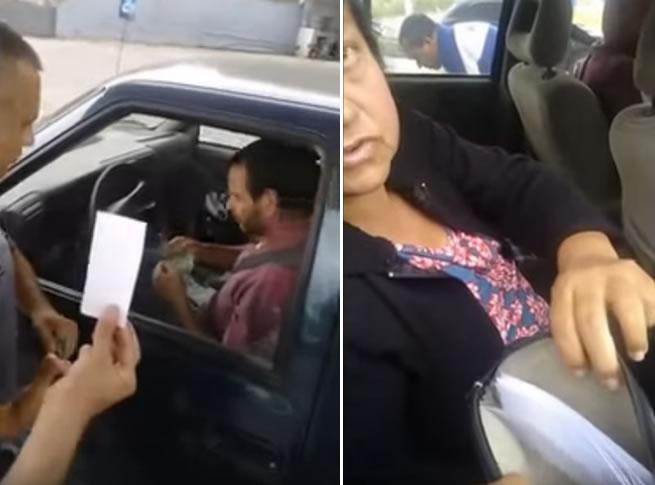 Família abastece carro e tenta pagar com um pedaço de papel dizendo que é dinheiro
