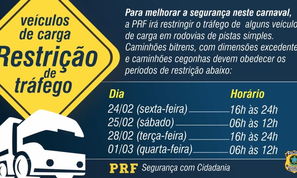 Circulação dos pesados limitada para a folia nas estradas