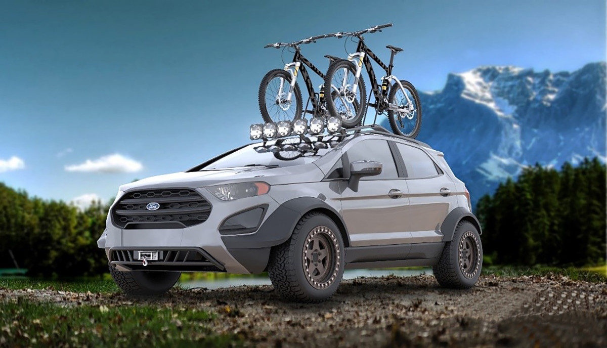 This Tucci Hot Rods Big Adventures EcoSport gives an all-new meaning to the concept of compact sport utility vehicle. The team started with custom fender flares and beefy Maxxis Bravo AT tires, then followed with off-road accessories including an integrated winch, custom tubular bumpers, Rigid Industries lighting and Yakima bike rack. The result is a highly capable, efficient, fun package from an award-winning team that will turn heads and open the great outdoors to a new generation of compact SUV builders.